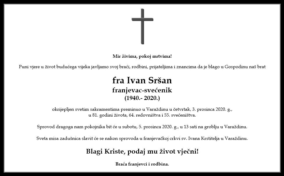 Osmrtnica - pater Ivan Sršan